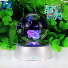 3D LED Night Light Pokemon Bulbasaur 5CM Crystal Pokeball Table Desk Lamp Gift