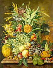 Still life with Fruit A2+ by Jacobus Linthorst High Quality Canvas Print