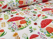 Stoff Baumwolle Jersey Pilze Fliegenpilz Marienkäfer Blumen weiß rot bunt