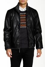 NWT $248 Vince Camuto Black Faux-Leather Jacket Coat Collared 3 Pocket Sz Large!