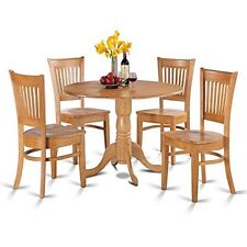5pc Dublin Dinette Table 4 Vancouver Solid Wood Chairs Oak East West Furniture