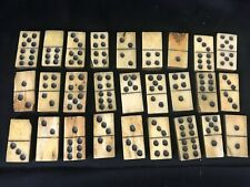 Old Antique Dominoes Ebony Bone Hand Made 27 piece 1865 Note