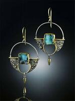 Woman 925 Silver Green Gemstones Ear Studs Wedding Bridal Jewelry Earrings Gift