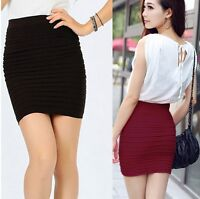 Sexy Women Solid Color Mini Skirts Fashion Casual Bodycon Dress Pencil Skirts