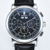 debert 42mm black dial date day Moon Phase multifunction automatic mens Watch