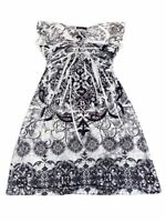 Apt. 9 Womens Sundress White Black Floral Sublimation Print Mini Sleeveless 5