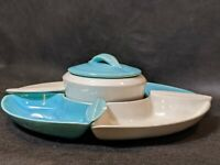 VINTAGE LAZY SUSAN*BLUE/WHITE APPETIZER SET*WM FRAZIER CALIF USA L44*RARELY SEEN