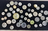 Lot 45+ Vintage Plastic Buttons, Mixed Colors (Mostly Clear), Styles, Designs
