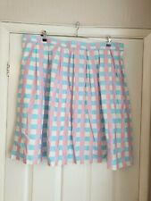 Unique Vintage Blue & Pink Gingham Pin Dot Pleated Skirt size 5xl