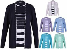 Hip Length Scoop Neck Striped Jumpers & Cardigans for Women
