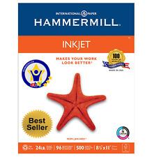 Hammermill InkJet Paper, Letter, White, 24lb, 96-Bright, 500 sheets ***NEW***