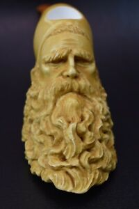 XL SIZE Dunhill Head PIPE-BLOCK MEERSCHAUM-NEW-HANDCARVED- W Case&stand #949