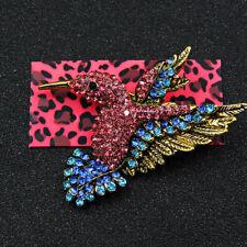 Betsey Johnson Pink Crystal Blue Hummingbird Bird Rhinestone Lady Brooch Pin