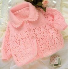 Knitting Pattern-Baby's DK Lacy Patterned Cardigan Chest sizes 43-48 cm    (77)