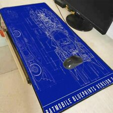 Batman Batmobile Blueprints Large Gaming Mouse Pad Lock Edge Laptop Computer Mat
