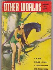 JAN 1953 OTHER WORLDS science fiction pulp magazine - PINUP GIRL - DE CAMP