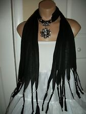 SCARF PENDANT NECKLACE  SHAWL WRAP SILVER TONE ROSE FLOWER BLACK  COLOR JEWELRY