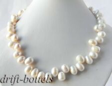 19'' 10.5mm White Baroque Teardrop Freshwater Pearl Necklace