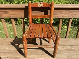 Antique Shaker Style Ladderback Bentwood Slatted Seat Child's Chair Jack & Jill