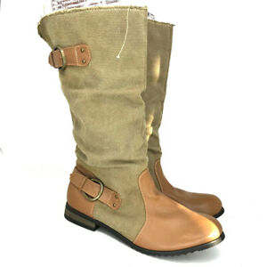 Rue 21 Etc! Womens Amira Tan Brown Textile Cowgirl Western Boots Pull On Sz 10