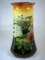 Antique Polychrome Floral Standard Glaze Tri-Corner Vase Rookwood Style, Weller