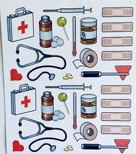 Doctor Nurse Stethoscope Shot Rx Band-Aid Scrapbook Stickers