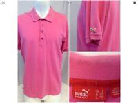 Puma Golf Polo Shirt L Pink 100% Cotton Green Logo EUC F3314 YGI