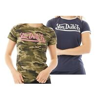 Ladies Von Dutch Printed Cotton Short Sleeve Jersey T Shirt Sizes from 8 to 16