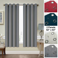 "Mellanni Blackout Curtains 2-Panel 52""x63"" Thermal Insulated w/ Silver Grommets"