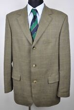 HUGO BOSS Tweed Checked Beige Wool Mens Blazer UK 44 Plaid Tartan Jacket 54 EUR