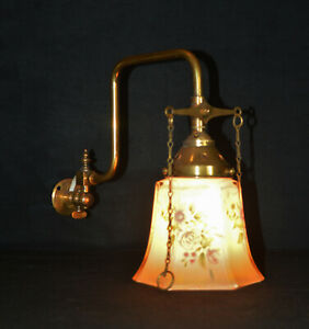 Vintage Edwardian brass gas wall light scone opaline glass hand painted shade
