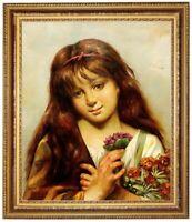 Ölbild, Mädchen mit Blumen, Leon Perrault, Ölgemälde HANDGEMALT, Gemälde 50x60cm