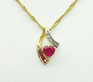 Ladies Pendant 9ct (375, 9K) Yellow Gold Created Ruby and Diamond Chip Pendant