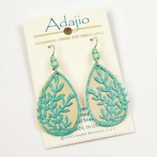 Adajio Earrings Mint Green Leaf Branches with Shiny Gold Plated Background 7873