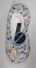 snoozies womens slippers BROCADE ballerina silver large 9 10 non slip