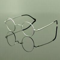 Pure Titanium Eyeglass Frames Spectacles Round Vintage Retro Mens Womens HFA763