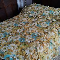 """VINTAGE  JCPenney Yellow Floral Bedspread Twin Quilted 76"""" x 40"""""""