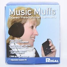 Headphone Earphone Black Fleece Ear Muffs with Auxiliary Aux Cable - New