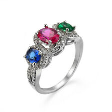 Fashion Women Silver Jewelry Multicolor Sapphire Ruby Emerald Ring size 9