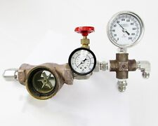 PSI Pressure & Temperature Gauge Assembly with Double Sight Flow & 160PSI Valve