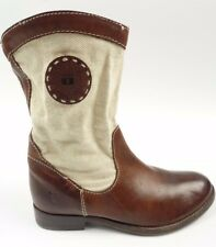 Frye Melissa Short Mid Calf Beige Canvas Brown Leather Riding Boots 6.5 B 77895