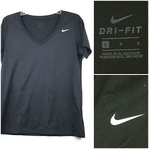 Nike Dri-Fit Womens Large (39 in Bust) Black Open V-Neck Gym Activewear Shirt