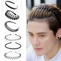 Mens Womens Black Sports Wave Hair Band Metal/Plastic Hairband Headband Headwear
