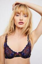 """NEW! $48 FREE PEOPLE """"SHE SAID"""" EMBROIDERED MESH U'WIRE BRALETTE BLACK SIZE 32C"""