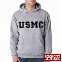 USMC BLOCK PT SPORT GREY HOODIE Hooded Sweatshirt United States Marines US Corps