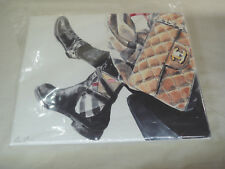 "11'' X 14'' X 1.5"" CANVAS CHANEL Bag and Boots Pop Art WOOD FRAMED Signed"