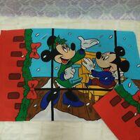 Vintage Christmas Disney Pillowcases Set Of 2 Mickey Minnie Pluto Standard 50 50