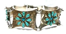 """MEXICO MEXICAN REYGO STERLING SILVER PETIT POINT TURQUOISE ESTATE BRACELET 8"""""""