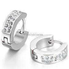 Men's Women's Unisex Stainless Steel Rhinestone Charm Hoop Huggie Earrings 2PCS