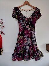 Ladies Lovely Jasper Conran Black Mix Floral Frill Trim Sequin Party Dress 8, Vg